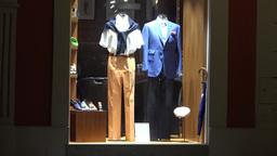 clothing store - shop window - urban street - nobody - night Footage