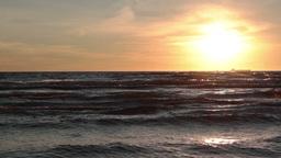 sunset over sea waves Footage
