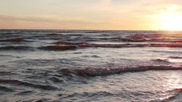 sunset over sea waves Footage