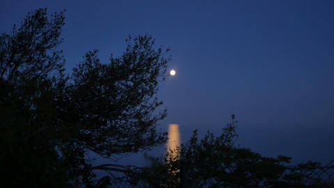 Full Moon Over the Sea at Dusk Footage