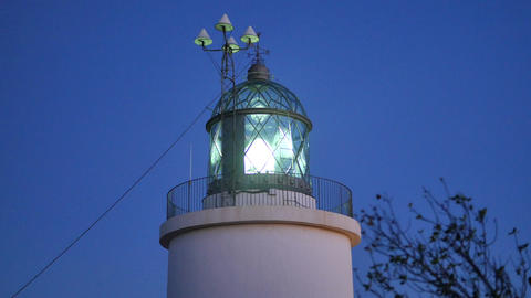 Maritime Lighthouse Start at Sunset Footage