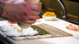 Sushi Chef Preparing Salmon Peach Futomaki Roll 4k Footage