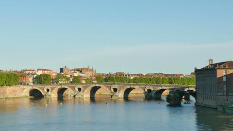 Toulouse Panoramic View of the Garonne River Footage
