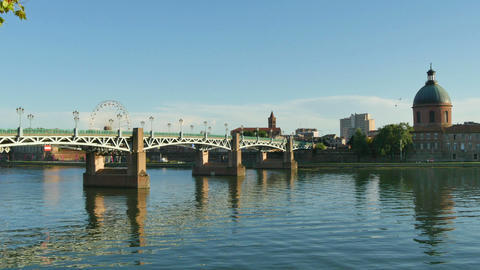 Panoramic View Of The Midi Channel In Toulouse stock footage