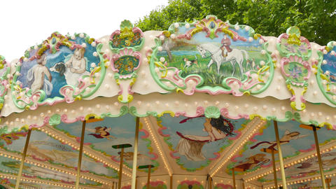 Classical Pretty Fairground Carousel in France Live Action