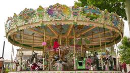 Pretty Modern Carousel In France 4k stock footage