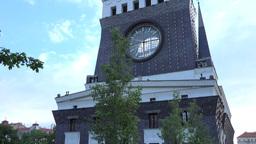 PRAGUE, CZECH REPUBLIC - MAY 30, 2015: Modern Church With Clocks - City - Nature stock footage