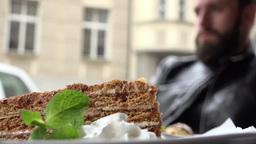 food - dessert - honey cake - detail Footage