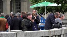 PRAGUE, CZECH REPUBLIC - MAY 30, 2015: Traveler (woman) photographs monuments -  Footage
