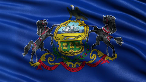 4K Pennsylvania state flag seamless loop Ultra-HD Animation