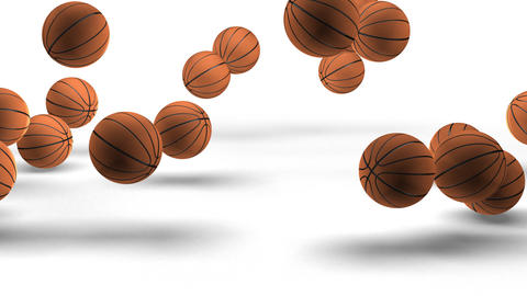 Jumping basketballs on white with zoom. (HD 30fps + Alpha) Stock Video Footage