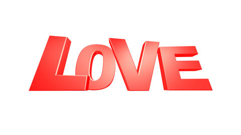 LOVE text impact (HD + Alpha) Stock Video Footage