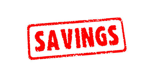 Stamp SAVINGS (HD + Alpha) Stock Video Footage