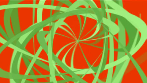 green helix lines,spiral fiber optic cable,mixing ribbon,broken pieces of debris paper Animation
