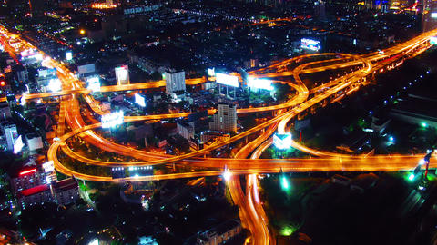 Bangkok roads at night from top view. Timelapse Stock Video Footage
