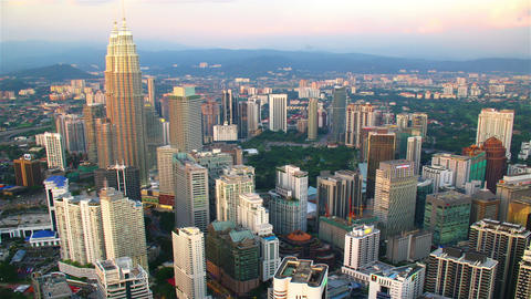 Kuala Lumpur at sunset from top, timelapse Stock Video Footage