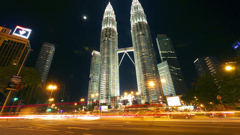 Petronas towers. Timelapse in motion Footage