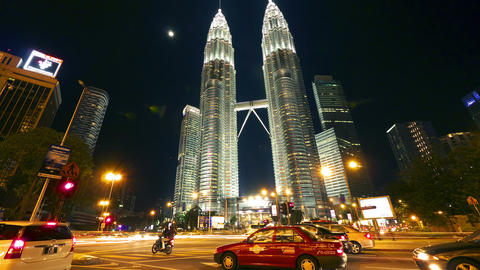 Petronas towers. Timelapse in motion Stock Video Footage