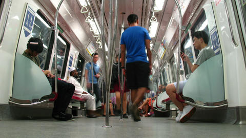 Passenger traffic in Singapore subway (MRT) Stock Video Footage