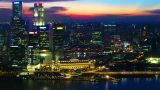 Singapore at sunset from top. Timelapse Footage
