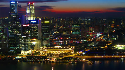 Singapore at sunset from top. Timelapse Stock Video Footage