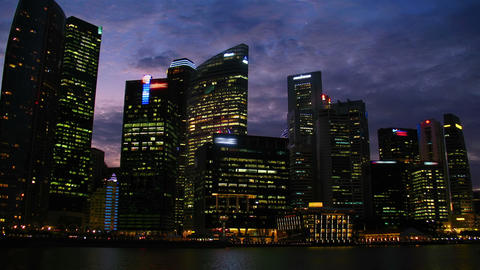 Singapore at night. Timelapse Stock Video Footage