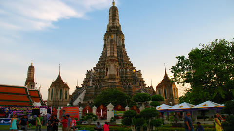 Wat Arun temple in Thailand, timelapse in motion Stock Video Footage