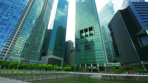 Singapore skyscrapers. Timelapse in motion Stock Video Footage