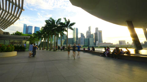 Sunset at Marina bay quay in the centre of Singapore,... Stock Video Footage