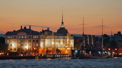 Nakhimov School and Cruiser Aurora Stock Video Footage