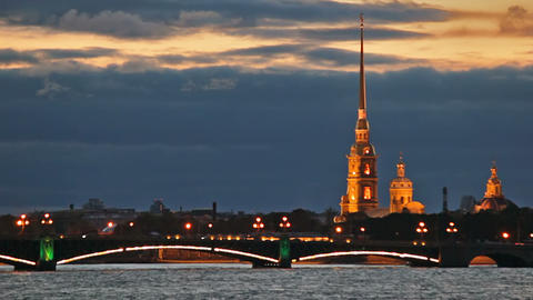 Evening traffic on the Troitsky Bridge Stock Video Footage