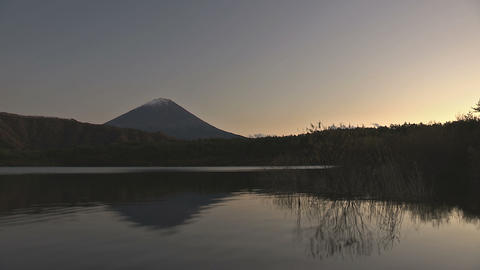 Fuji Mountain and Sai Lake,sunset time,in Yamanashi,Japan Stock Video Footage
