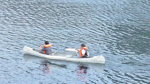 Father And Son Doing Kayak stock footage