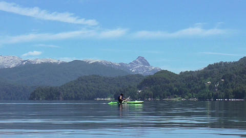 Kayak Sport in a Lake in South America Live Action