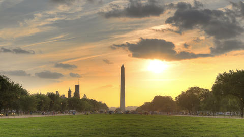 Sunset Behind Washington Monument - #2 stock footage