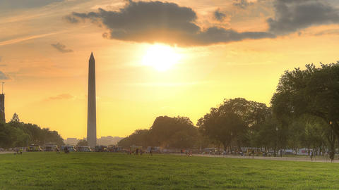 Sunset Behind Washington Monument stock footage