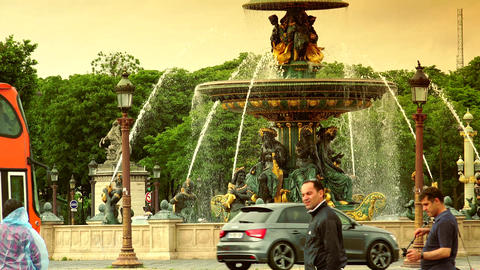 Famous Golden fountain in the Place du Concorde, ultra hd 4k, real time, zooming Footage