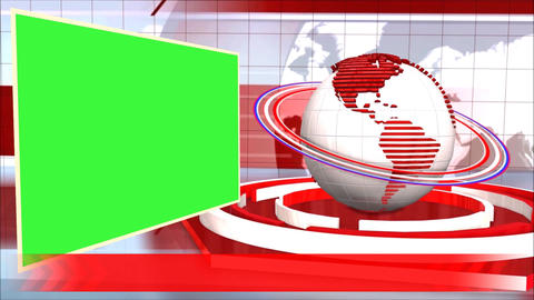 News Broadcast Background World Animation Green Screen Red Line Footage