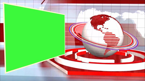 News Broadcast Background World Animation Green Screen stock footage