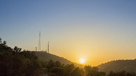 4K Zoom In Sunset Serro S Miguel Antenna Background stock footage