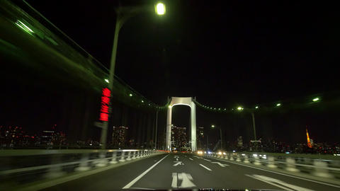 Pov view driving night action around the Tokyo metropolitan highway rightside To Footage