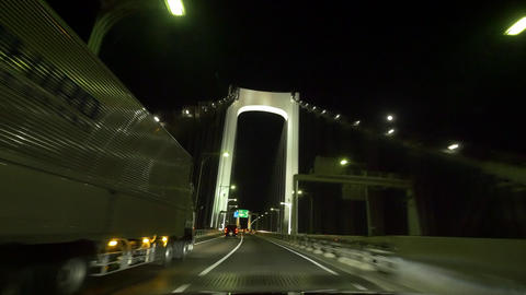 Pov view driving night action around the Tokyo metropolitan highway (across rain Footage