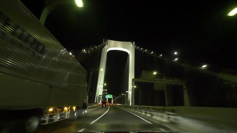 Pov view driving night action around the Tokyo metropolitan highway (across rain Footage