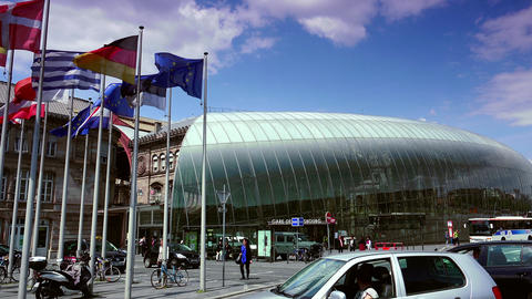 STRASBOURG, FRANCE: Gare de Strasbourg, the main railway station,Ultra hd 4k, re Footage