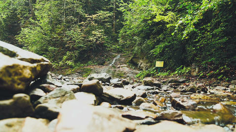Bukovina waterfalls, Roztoky, Ukraine. Water flowing over rocks Footage