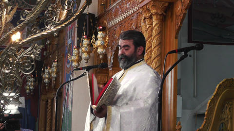 a christian orthodox priest - baptism ceremony Footage