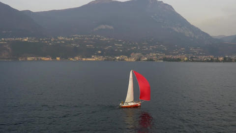Aerial Fly Around Scarlet Sails stock footage