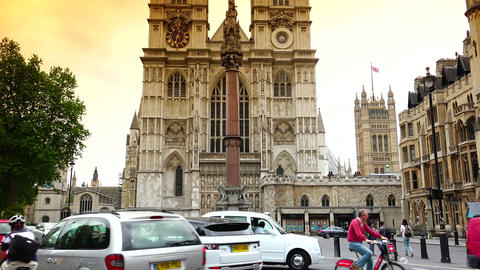 London traffic around Westminster Abbey cathedral;ULTRA HD 4k, real time, zoom Footage