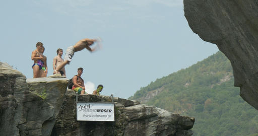Cliff Diving 02 stock footage