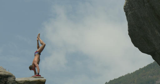 Cliff Diving Long 01 stock footage